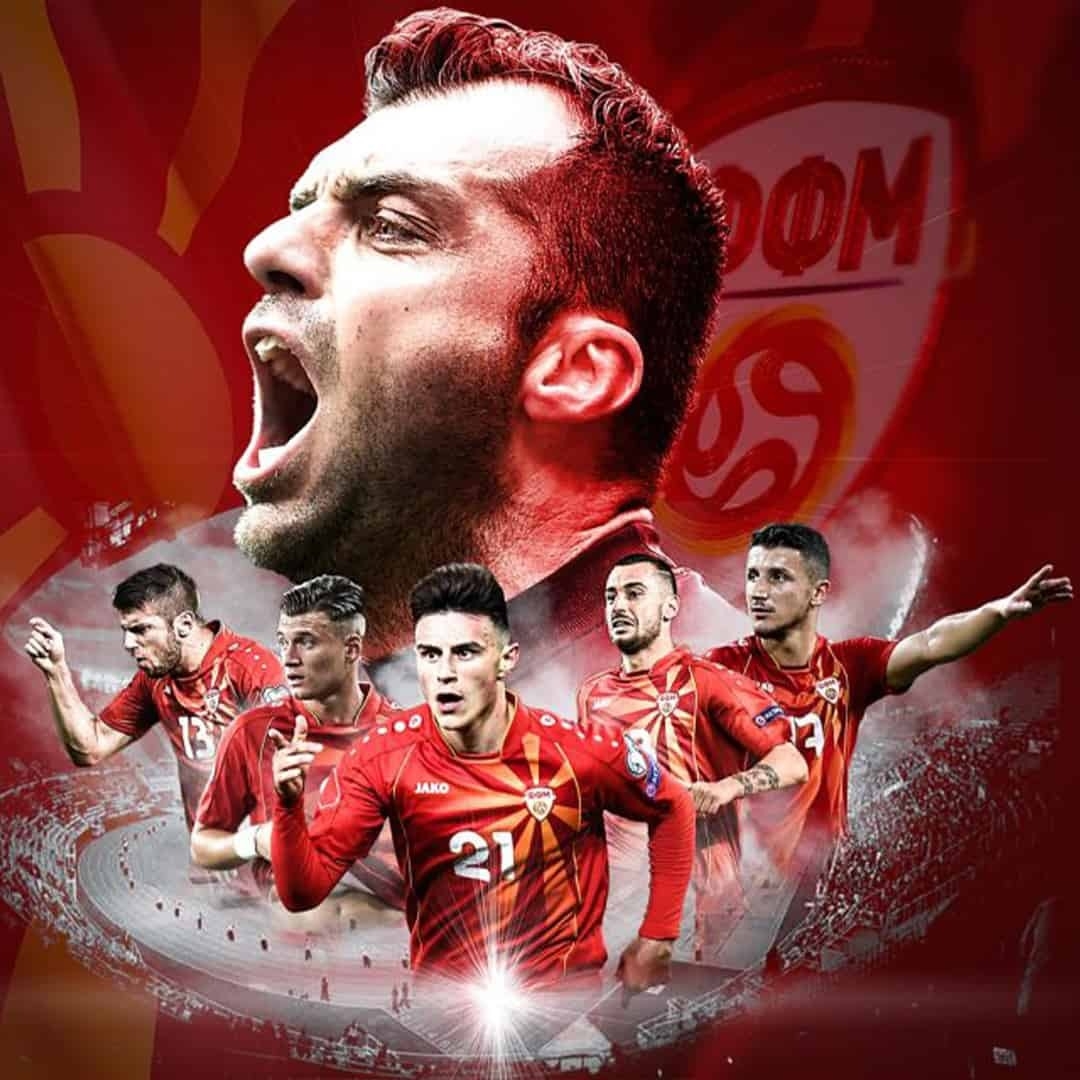 Custom made photo with Goran Pandev in the focus, and a total of five teammates from the National Macedonian Football Team on a red background.