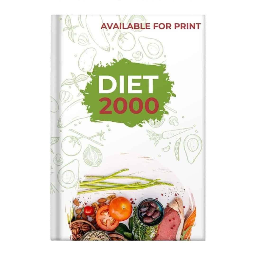 Diet 2000 Mockup Available for Print showcasing vegetables such as tomatoes and even meat and fish on the lower part of the image.