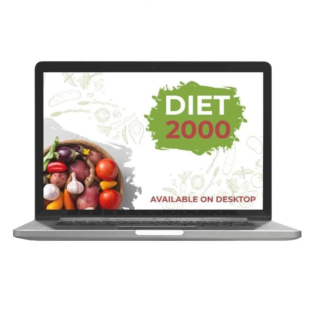 Diet 2000 Mockup Available on Desktop showcasing vegetables on the left side of the screen