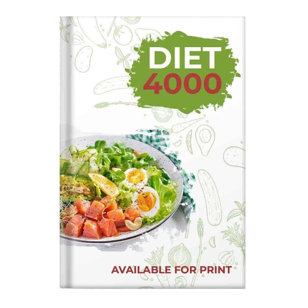 Diet 4000 showcased that it is Available for print, with a vegetables and salmon in a white plate on the left side,