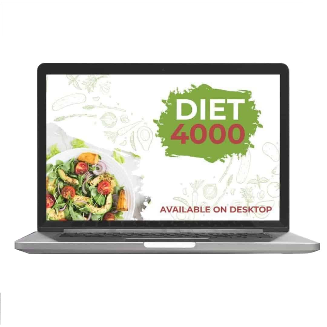 Diet 4000 showcased that it is Available on Desktop. There is a salad in a white plate on the left, lower corner of the screen.