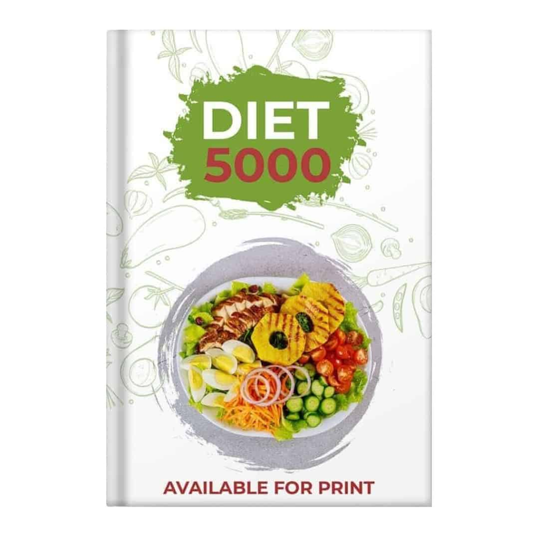 Diet 5000 mockup image that is available for print, with a salad in a white plate.