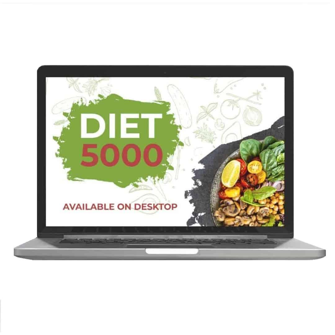 Diet 5000 mockup image that is available on laptop, with vegetables in a grey plate on the right, lower corner on the screen.