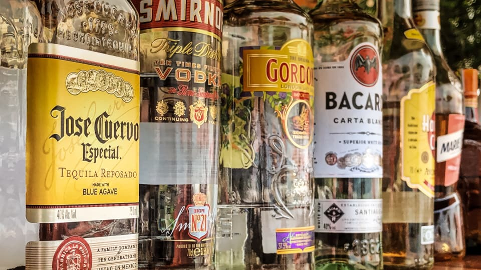 An image of differnt bottles of alcohol.